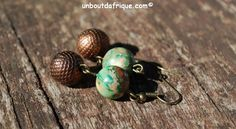 """Boucles d'oreille """"Nuances d'automne"""" en variscite et bronze"""
