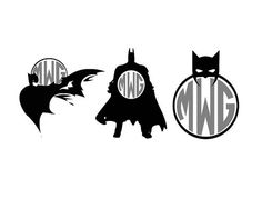 3 Batman Monogram Frame instant download cut by Vinyldecalsworld