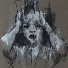 Steps for Portrait Drawing with Charcoal - Drawing On Demand Art And Illustration, Illustrations, Arte Horror, Horror Art, Distortion Art, Dark Art Drawings, Charcoal Drawings, Arte Obscura, A Level Art