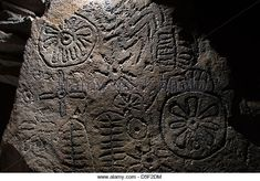 Megalithic petroglyphs ( rock engravings ) in the Loughcrew passage tomb, County Meath, Ireland. - Stock Photo