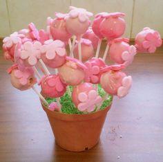 Claudine's pink birthday flower pot pops