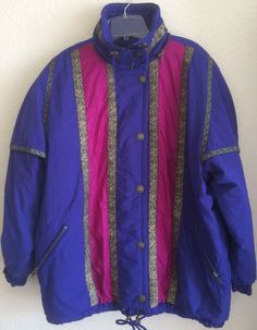 Ossi Women's Insulated Ski Jacket Size Large Purple Pink with Gold & Green Trim  #Ossi #Puffer