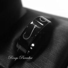 Hook Ring, Hook Pattern Engrave Black Tungsten Wedding Band, Mens Tungsten Rings #Tungsten #Classic