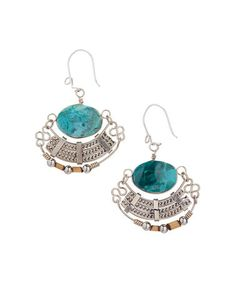 Andean Turquoise & Silvertone Drop Earrings #zulily #zulilyfinds