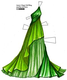A one-shoulder green gown, with a bottle green top that appears to be pulled behind the gown at the waist and wrapped around the back, reappearing at the hem. Under it is an asymmetric grass green layer that ends around the knees, and from there to the hem is an underskirt in a third shade of green.This layered green gown is something that I did quickly and didn't put much thought into, and yet it was this very gown that became a hit on Polyvore, a site that lets you create digital collages…