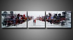 Amoy Art 3 Panels Hand Painted Modern Abstract Oil Paintings Women Walking City Street Landscape Canvas Artwork Oil Paintings Stretched Frame Ready To Hang -- Details can be found by clicking on the image.