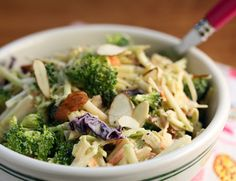 Double Broccoli Salad with Almonds and Sriracha-Yogurt Dressing  - Kalyn's Kitchen®: 25 Deliciously Healthy Low-Carb Recipes from June 2014 (Gluten-Free, South Beach, Paleo, Whole 30)