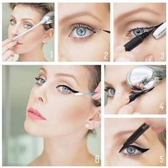 How do I create a perfect eyeliner? Let's agree that nothing enhances your eye make-up like a dramatic, perfectly drawn winged eyeliner. It looks super sharp and complements almost any k. Perfect Winged Eyeliner, Winged Eyeliner Tutorial, How To Apply Eyeliner, Winged Liner, Winged Eyeliner Tricks, Eyeliner Hacks, Eyeliner Styles, Makeup Hacks, Hair Hacks