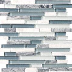 "Anatolia Bliss Glass Stone Blend Linear Mosaic 5/8"" x Random : Waterfall 35-015"