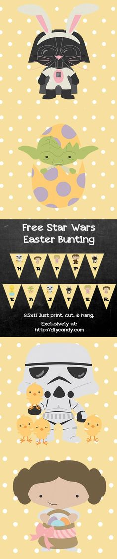 Get a free printable for a fun Star Wars Easter banner - come over to the dark side and hang this cute garland in your home for the holiday.