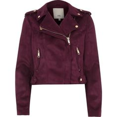 Burgundy faux suede biker jacket (310 PEN) ❤ liked on Polyvore featuring outerwear, jackets, tall jackets, rider jacket, faux suede biker jacket, tall motorcycle jacket and epaulet jacket