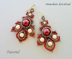 PDF+for+beadwoven+earrings+beading+tutorial++par+PeyoteBeadArt,+$6.50