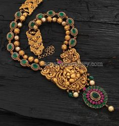 Emerald Antique Long Set - Jewellery Designs