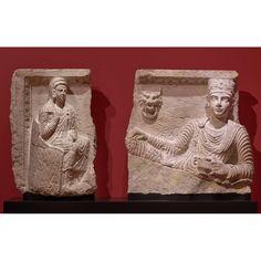 Malku and His Wife Banqueting, 146 - 147 C. Hard greyish limestone, 29 × 31 × 5 in. Getty Villa, Palmyra, Roman Empire, Priest, Copenhagen, Worship, Carving, Culture, Statue