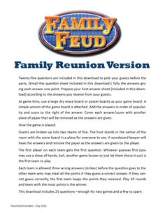 Family Reunion Family Feud - Printable Game -  Family Picnic Fun - Group Game - by PamsPartyPrintables on Etsy