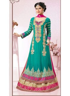 a long length anarkali suit perfect for any grand festival or a wedding.