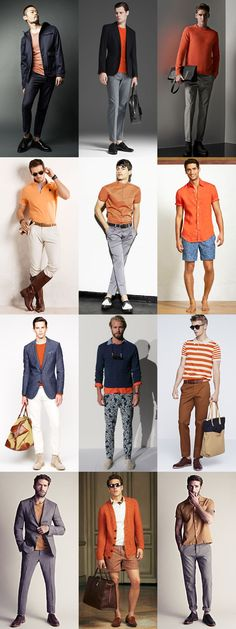 Men's Orange Shirts, T-Shirts, Polo Shirts and Knitwear Outfit Inspiration Lookbook