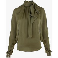 Balmain Pussy-bow silk blouse (101.905 RUB) ❤ liked on Polyvore featuring tops, blouses, khaki, silk bow blouse, zip blouse, embellished blouse, long sleeve blouse and silk blouse