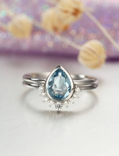 Aquamarine Engagement Ring white Gold Vintage Diamond Wedding