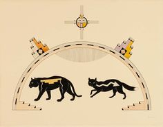 Black Mountain Lion and Black Fox  ca. 1925-1930 Awa Tsireh Born: San Ildefonso Pueblo, New Mexico Died: San Ildefonso Pueblo, New Mexico watercolor, ink, and pencil on paper sheet: 11 1/4 x 14 1/4 in. (28.5 x 36.2 cm) Smithsonian American Art Museum