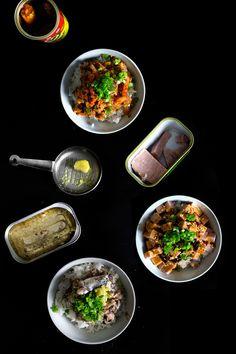 Donburi Three Ways - [CANNED SARDINES IN OLIVE OIL DONBURI, SALIVA-SPAM DONBURI and CORNED BEEF (OR SARDINE IN TOMATO SAUCE), AND KIMCHI DONBURI]