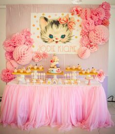 Jodies Vintage Kitty Cat Themed Party 1st Birthday
