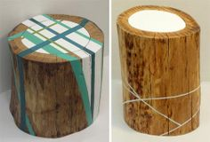 The simple logs painted in unexpected ways also work brilliantly to add a little touch of nature.