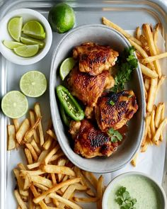 This Peruvian roasted chicken with green sauce is much easier than it looks. To make the chicken crispy on the outside and juicy on the inside you marinate it in lime juice, olive oil, garlic, cumin, paprika, salt, pepper, and oregano. Then you roast it in the oven and broil it at the end to make sure it gets crisp. The green sauce is made of cilantro, yogurt, jalapeños and lime. Peruvian Chicken, One Pot Chicken, Roasted Chicken, Fried Chicken, Food Processor Recipes, Main Dishes, Chicken Recipes, Dinner Recipes, Dinner Ideas