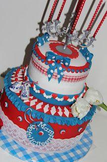 lekker zoet: rood wit blauwe taart voor mijn jarige mams, n ech...