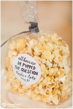 Popcorn guest favors, because he popped the question, cute sweet affordable popu. - Popcorn guest favors, because he popped the question, cute sweet affordable popular clever wedding - Popcorn Wedding Favors, Popcorn Favors, Honey Wedding Favors, Edible Wedding Favors, Wedding Candy, Wedding Party Favors, Wedding Shoes, Wedding Invitations, Wedding Rings
