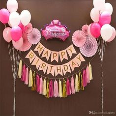 2018 Party Decoration Set For Kids Kit Tissue Paper Fan Tassel Garland Happy Birthday Bunting Banner Happy Birthday Decor, Birthday Decorations At Home, Diy Birthday Banner, Happy Birthday Banners, Birthday Balloons, First Birthday Parties, Balloon Decoration For Birthday, Paper Fan Decorations, Happy Birthday Princess