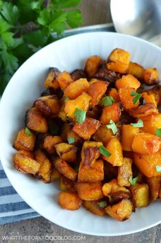 Caramelized Butternut Squash (Paleo). This side dish is easy and full of flavor, perfect for fall! From What The Fork Food Blog   whattheforkfoodblog.com #KnifeSkills #sponsored