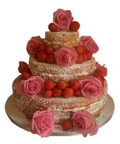 Strawberry sponge wedding cake by Genuine Cakes