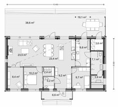 Popular home with large windows to maximise the daylight. Small House Plans, Large Windows, Log Homes, Tiny House, Floor Plans, How To Plan, Building, Interior, Resorts