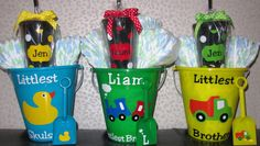 personalized duck, train & truck buckets $9