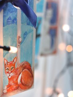 Slight board with hand-painted portrait of a cat by SkadiaArt