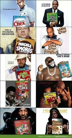 Rappers and Cereal. I d definitely eat the corn pacs and snoops hoops for  every meal everyday! 1b2842365f6