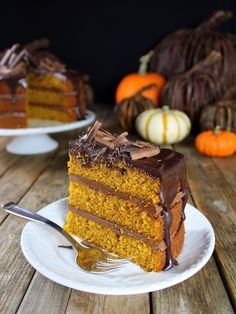 Pumpkin Chocolate Ganache Cake – semi-sweet chocolate, pumpkin puree, cinnamon, and spices all layered together in one delectable cake. Topped off with chocolate curls… beautiful AND scrumptious! Best Dessert Recipes, Easy Desserts, Delicious Desserts, Cake Recipes, Sweets Recipes, Tooth Cake, Chocolate Ganache Cake, Fall Cakes, Cake Tasting