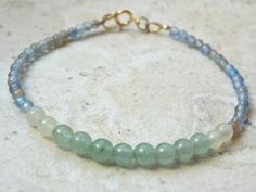 Delicate Blue Green Beaded Multi Gemstone Stacking Bracelet, Jewelry, Dainty, Minimal by jljewellerydesign on Etsy