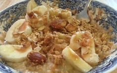 Peanut butter and banana oatmeal in the crock pot. Let it cook overnight, breakfast is ready in the morning!!
