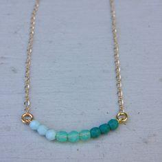 Dainty Ombre Blue Bead Necklace Ombre Stone Bar by OwlBazaar