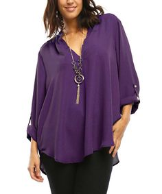 Another great find on #zulily! Eggplant Roll-Tab Notch Neck Top - Plus by MISIA PLUS #zulilyfinds
