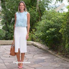 Look de trabalho - look do dia - look corporativo - moda no trabalho - work outfit - office outfit - spring outfit - look executiva - summer outfit - saia branca - white pencil skirt - mint - verde água - pink - azul celeste