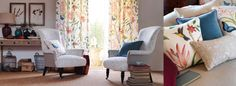 Voyage of Discovery Fabric Collection (source Sanderson) Wallpaper Australia / The Ivory Tower Curtain Fabric, Curtains, Sanderson Fabric, Fabric Birds, Study Office, Moving House, Luxury Interior, Victorian Era, Country