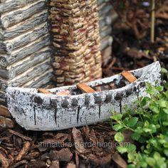 Jeremie Birch Bark Canoe for Miniature Garden, Fairy Garden Gardening Websites, Fairy Crafts, Big Backyard, Garden Quotes, Birch Bark, My Secret Garden, Miniature Fairy Gardens, Fairy Houses, Miniatures