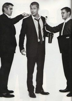 Groom's preperation. George Clooney Brad Pitt, Mat Damon. The trio of classic dressing. Always good in holywood style.