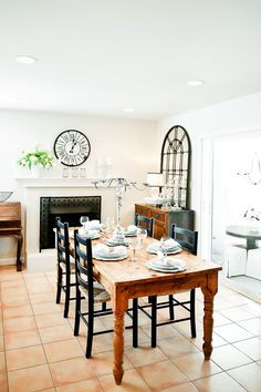 I like the use of modern and vintage in this dining room