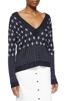 A crisp pattern lends preppy charm to this slinky Rag & Bone sweater. Ribbed edges and a deep V neckline. Long sleeves.   Abigale Pullover by Rag & Bone. Clothing - Sweaters - V-Neck Canada