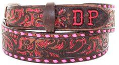 B086SD - Brown Vintage Tooled Belt