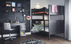 Option design pour ces lits superposés noirs